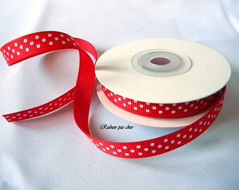 Ribbon grosgrain red polka dot - * 9 mm x 10 m *-cheap / high quality!