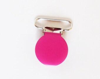 Attache tétine / sucette 36 mm - Fuchsia MAT - pince bretelle - clip - création bébé