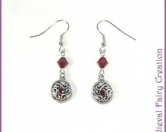 """Ruby"" red crystal and Silver earrings"