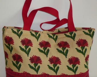Red city Christine printed eyelet Tote