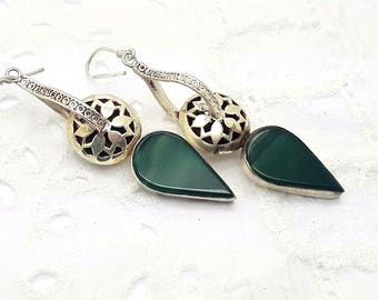Sterling Silver Green Onyx Dangle Earrings/Vintage Handmade/Free Shipping US/Christmas/Birthday/Wedding/Valentines/Anniversary