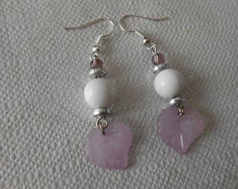 324 - purple leaf earrings / purple and pearls