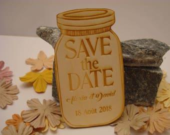 Lot 10 jar 02078 wooden wedding invitation
