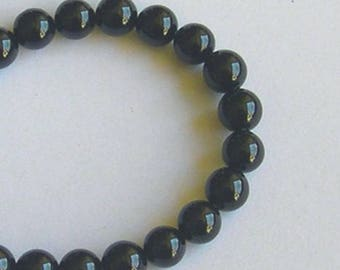 62 IN FINE BLACK ONYX GEMSTONE 6 MM ROUND BEADS