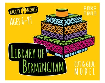 Library of Birmingham || FoxeTroo Cut-Out Paper Model Kit for Kids || Pack of Two Models