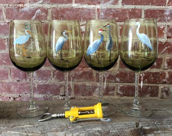 Hand-painted wine glasses with wire wrapped stem and feather charm. Sanhill crane, Egret, Heron, and Ibis