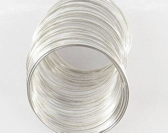 20 rounds of memory wire 1 mm for making bm20 silver colored metal bracelet - 1 mm