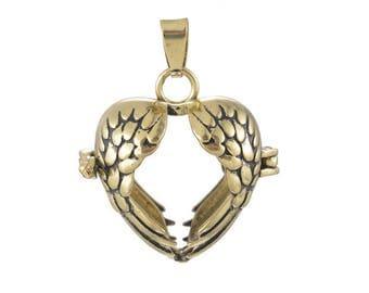 x 1 pendentif cage de Bali Bola Mexicain coeur motif aile ajouré pour Bille d'harmonie Bébé bronze 3,4 x 2,8 cm