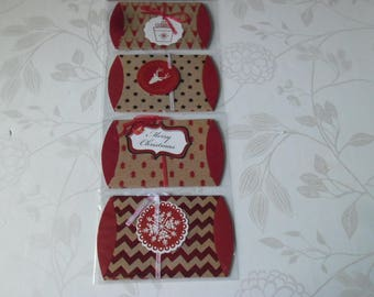 x 4 mixed boxes Christmas patterned brown/reddish 12.5 x 7.5 cm