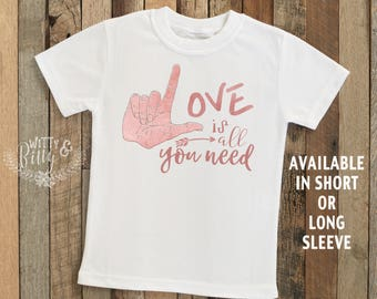 Love Is All You Need Kids Shirt, Boho Kids Shirt, Song Lyrics Tee, Cute Kids Shirt, Pink Girls Tee, Hipster Kids Shirt - T259L
