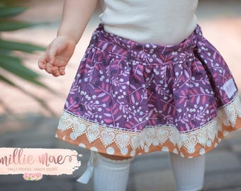 Girls Fall Skirt in Purple with Polka Dots- Baby Girl and Big Girls