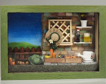 Miniature Shadow Box - Backyard Garden