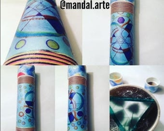 Handmade kaleidoscope of mandalas, 20 cm