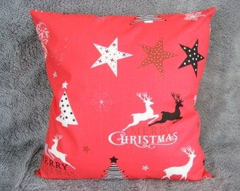 NEW Reindeer Merry Christmas Decor, Holiday Pillow Cover Seasonal Cushion handmade holiday