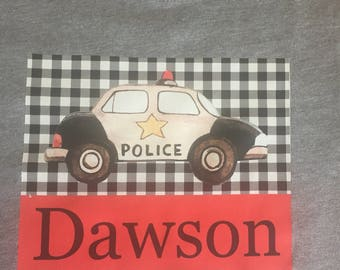 Police Car Watercolor Tee