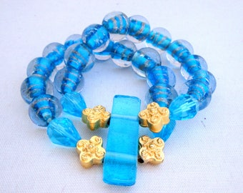 Murano crystals and gold stretch bracelete
