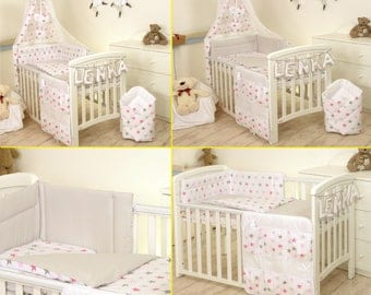 Baby Cot Bed Set fit cot 120x60 cm or cot bed 140x70  - PINK-GREY STARS/ grey back with reversible bumper -duvet cover -pillow case
