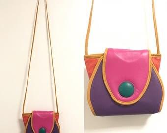 Vintage Color Blocked Leather Purse