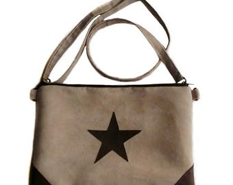 Star suede handbag