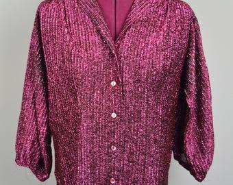 Pink Metallic Vintage Button Up