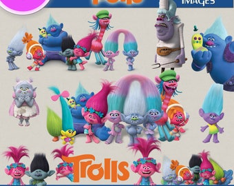 100 TROLLS CLIPART PNG Images, Digital Cliparts, Graphic, Stickers, Decals, Png file Format, Transparent Backgrounds