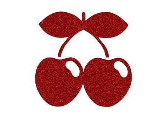 Cherry 8 cm in flex fusible red glittery pattern