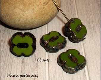 "4 beads Czech Picasso Glass Table cut ""clover"" 12 mm Olive Green"