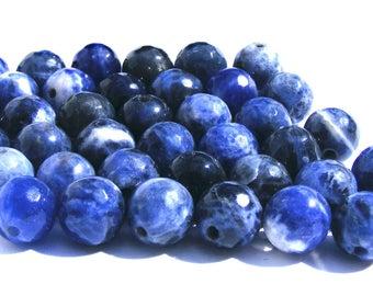 8 sodalites à facette de 8 mm perles pierre bleu et blanche.