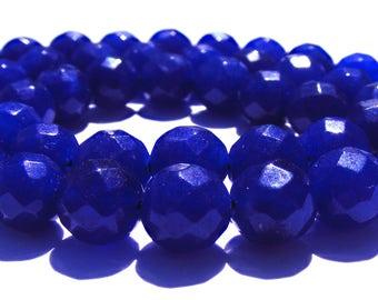 8 saphirs à facette de 8 mm perles pierre bleue nuit