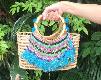 Adorable Rattan Bag with Beaded Tassels