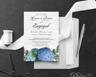 Hydrangea Engagement Invitation Printable Flowers Invite Floral Engagement Party Invitation Garden Invitation Blue Hydrangea Rustic Invite