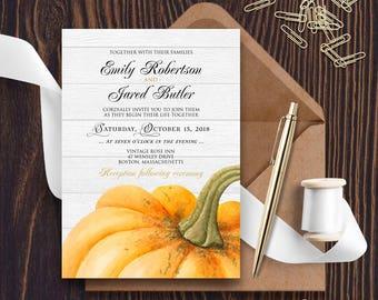Garden Wedding Invitation Pumpkin Invitation Fall Wedding Invitation Printable Invite Rustic Wedding Invitation Pumpkin Wedding Editable PDF