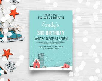 Winter Birthday Invitations Babies & Kids Birthday Party Printable Invitation Winter Landscape Teal and Pink Houses Any Age Birthday Invites