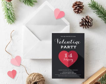 Vday Heart Chalkboard Printable Invitations Valentines Party Invites Valentine Red Heart Digital Invitations Valentine Day Dinner Invitation