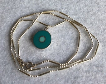 """Necklace/Pendant- two-toned turquise enamel/sterling silver pendant on a 24"""" chain."""