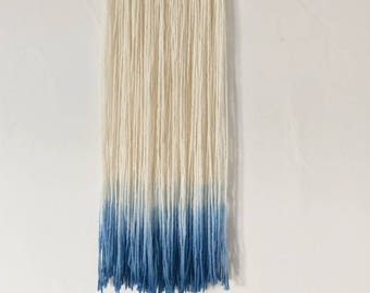 Ombre chunky wool blue Dip Dye long navy Macrame Yarn Wall Hanging