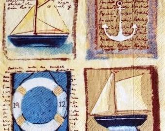 PAPER boats, buoy, anchor #M013 TOWEL