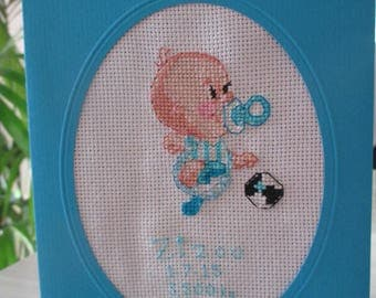 "Birth announcement embroidered ""when my father fan of OM"""