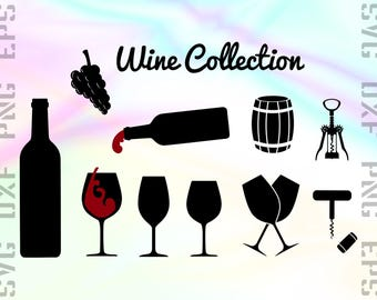 Wine SVG Files - Wine Dxf Files - Wine Clipart - Wine Cricut Files - Wine Cut Files - Wine Png - Wine Silhouettes - Svg, Dxf, Png, Eps