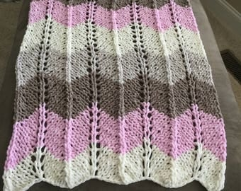 Hand Knit Afghan, very soft
