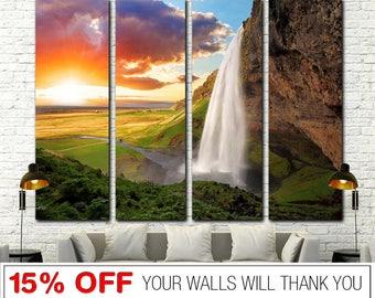 Sunset canvas, Waterfall, Lanscape, Sunset Waterfall, Sunset Waterfall Canvas, Sunset Waterfall Print, Lanscape Canvas, Lanscape Wall Art