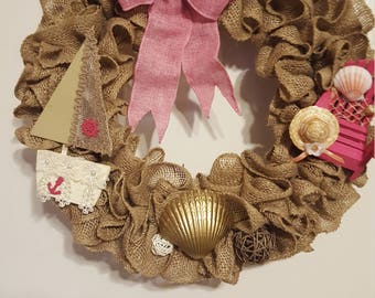 Burlap Wreath, Beach Burlap Wreath, Sailing Burlap Wreath