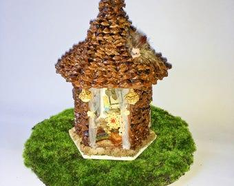 Pine Fairy House- Wood-Handmade-Fae-Faeiry-Collection-house-fairy home