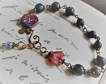 Adjustable bracelet in copper bronze and gorgeous Labradorite - by Angel's SignS