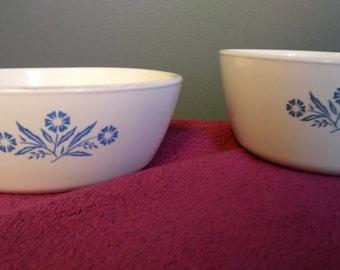 Vintage Corning Ware Blue Cornflower Sauce Pans # P-82 (3 Cup)  & P-81-B (600 ml)