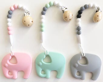 Elephant Teether & Pacifier Clip / Silicone Teether Customize / Silicone Beads/ Teether