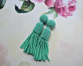 turquoise color/oscar de la renta/handmade clip/beaded tassel