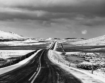 Icelandic Road in B&W