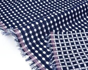 Soft cotton reversible woven dyed dots geometric x 50cm