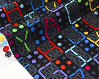 US fabric patchwork - letters and numbers multicolored background black x 50cm